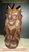 Antique Indonesia Large Rare Carved Wood Garuda Vishnu Lion Temple Guard C1800's