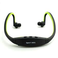 Hot Wireless Earphones Headphones Sports MP3 Music FM Player for Fitness Green