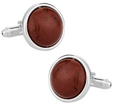 Domed Jasper Cufflinks with Sterling Silver Plate Direct from Cuff-Daddy