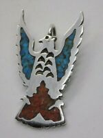 Rare CHARLIE JOHN Navajo Sterling Silver Turquoise & Coral Eagle Pendant VINTAGE