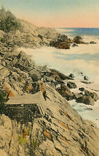 ROCKS AND WAVES AT OAR-WEED COVE, OGUNQUIT, MAINE. ME. LOBSTER POTS.
