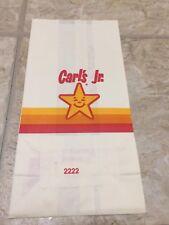 1980's vintage Carl's Jr. Hamburgers take out paper bag unused