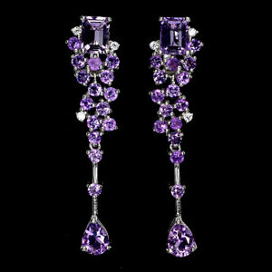 Unheated Octagon Amethyst Cz 14K White Gold Plate 925 Sterling Silver Earrings
