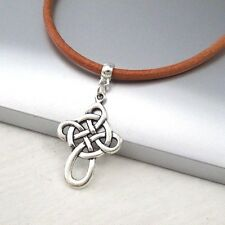 Silver Irish Celtic Knot Cross Alloy Pendant 3mm Brown Leather Cord Necklace
