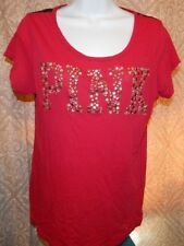 PINK by VICTORIA'S SECRET Berry & Black Embellished / Lace SS Top Women's Small