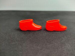 Vintage 60s Skipper Orange Short Boots / Japan Mattel Barbie Shoes Booties