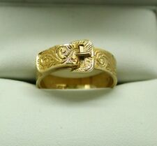 Gents / Ladies Beautiful Quality 9 Carat Gold Engraved Buckle Ring Size S