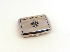 Fleur de Lis on Tobacco Tin Trinket Box French Gifts Dad Anniversary Xmas Gift
