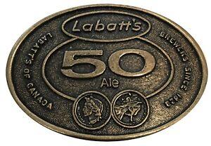 Vtg Labatt's Ale Belt Buckle Canadian Beer Bottle Label Advertising Cool Brass