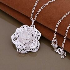 925 Silver Plt Big Filigree 3D Rose Flower Pendant Necklace With 18'' Chain A