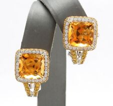12.10 Ct Natural Citrine Sapphire and Diamond in 18K Solid Yellow Gold Earrings