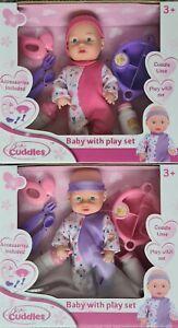 Baby Doll With Feeding Bottle Girls Boys Cuddle Toy Xmas Gift New