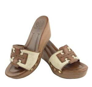 Tory Burch Wood Grain Wedge Brown Canvas Leather Platform Slide Size 6 M