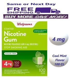Nicotine Gum 4mg Cool Mint 100 Ct. Walgreens Stop Smoking Compared to Nicorette