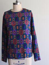 Vintage Paul Stanley Silk Multicolor Print Blouse Size 8