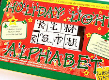 Christmas Light Bulbs Rubber Stamps Making Holiday Bright String Letter Set RARE