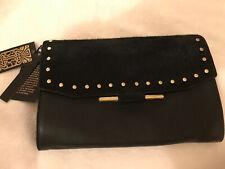 NEW Biba Black Animal Pony Hair Skin Clutch Bag With Gold Studs Design BNWT £80