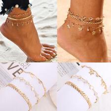 Ankle Bracelet Beach Anklet Set Rhinestone Star Foot Jewelry Bead Chain