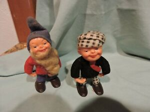 Lot 2 Vintage Celluloid West German Dolls - ?Troll - 3 in. MUST SEE