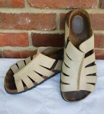 BETULA BIRKENSTOCK Ivory Suede Open Toe Vented Slide On Sandals Size 8W 6M 39.5