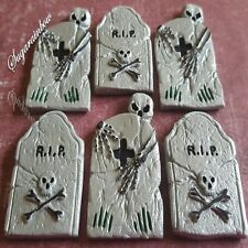 6 Edible sugar Halloween cake decorations tombstones tombs cupcake toppers