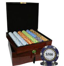 750pcs MONTE CARLO POKER CLUB POKER CHIPS SET HIGH GLOSS WOOD CASE CUSTOM BUILD