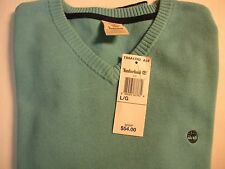MEN'S TIMBERLAND *WILLIAMS RIVER V-NECK COTTON SWEATER* COLOR BLUE SIZE SMALL