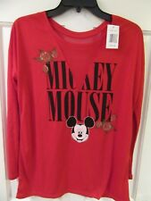 NWT Disney Mickey Mouse Mesh V neck Shirt Womens Size M Red Long Sleeve