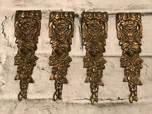 Lot of 4 Antique Gild Brass Furniture Pediments Decorative Applique Hardware