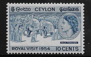 Ceylon Scott #318, Single 1953 Complete Set FVF MH