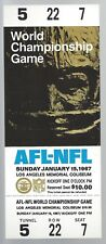 1967 NFL SUPER BOWL I FULL PROOF FOOTBALL TICKET - CHIEFS vs GREEN BAY PACKERS