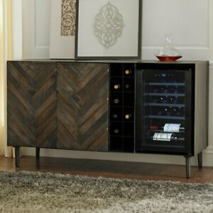 Rioja Herringbone Credenza With Space for Wine Refrigerator by wine Enthusiast