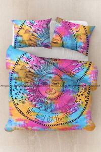 Indian moon print multi mandala duvet cover cotton quilt cover bohemian bedding
