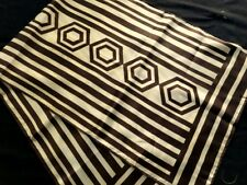 "1950s Made in Japan Chocolat Brown White Stripes Scarf Hand Rolled Hem 43"" x 15"