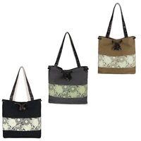 Women's Retro Casual Printing Canvas Bucket Shoulder Messenger Bag Tote Handbags