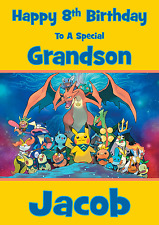 Pokemon personalised A5 birthday card son daughter brother niece nephew name age