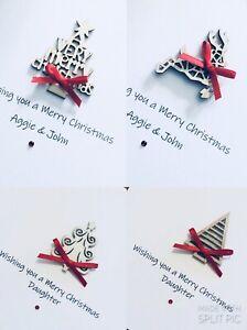 4 Pack Personalised Handmade Christmas Cards - Wooden Christmas Tree / Reindeer