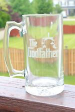 Handmade personalized etched glass stein. The Godfather, Baptism, father's day
