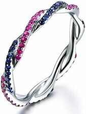 925 Sterling Silver Band Ruby & Blue Sapphire CZ Stackable Matching Wedding Ring