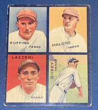 1935 Goudey - Dickey (HOF), Lazzeri (HOF), Malone & Ruffing (HOF) CREASE FREE NR