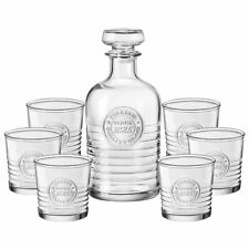 Bormioli Rocco Premium Whiskey Wine Decanter & 6 Glass Tumblers Gift Boxed Set Officiana