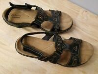 Clarks Leisa Slingback Sandals Womens Black Leather 8.5 M Comfort Shoes