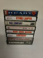 Mixed Lot Of 8 Rock Cassette Tapes- Whitesnake, Heart, Cyndi Lauper, Loverboy ++
