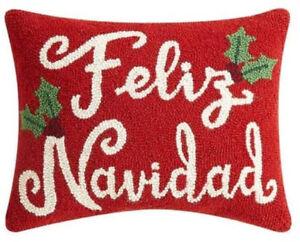 "Peking Handicraft - Feliz Navidad 14"" x 18"" Hook Pillow - 31TG647C18OB"