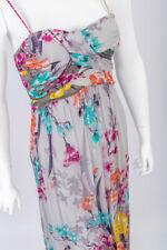 Derhy Multicolor Vestido Largo Con Estampado Floral Fruncido Espalda Con Tiras & Lentejuelas