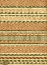 Woven Cotton Duck beach cottage Stripe orange and gray & cream Upholstery Fabric