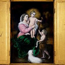 Antique French Limoges Enamel Portrait Plaque Triptych Virgin Mary Jesus Christ