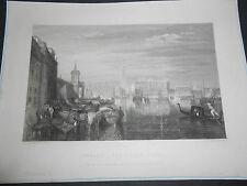 1860 INCISIONE SU ACCIAIO VENEZIA IL CANALE GRANDE DA UN QUADRO DI TURNER