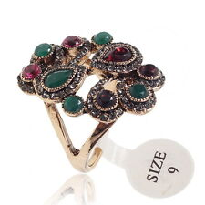 VS02 Multi Colors S. Crystal CZ Jade GP Vintage Design Alloy Ring Size 9