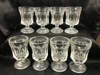 "Set of 8 Vintage Clear Glass 3-3/4"" Goblet Cordial Glasses"